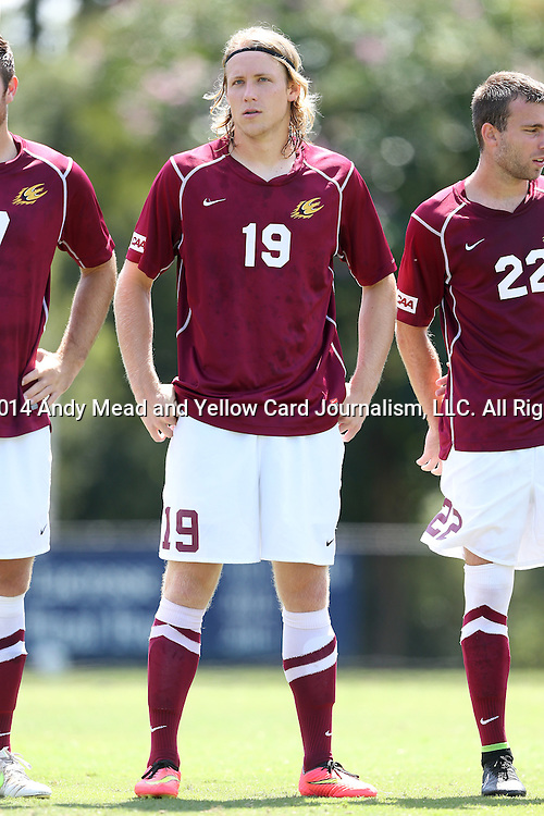 31 August 2014: Elon's Nathan Diehl. The Elon University Phoenix played the Loyola Marymount University Lions at Koskinen Stadium in Durham, North Carolina in a 2014 NCAA Division I Men's Soccer match. Elon won the game 1-0.
