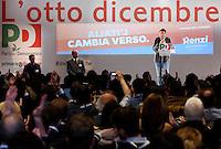 Il candidato segretario alle elezioni primarie del Partito Democratico Matteo Renzi parla alla Convenzione Nazionale del partito a Roma, 24 novembre 2013.<br /> Italian center-left Democratic Party's candidate secretary at the upcoming primary elections Matteo Renzi speaks during the party's National Convention in Rome, 24 November 2013.<br /> UPDATE IMAGES PRESS/Riccardo De Luca