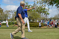 Ian Poulter (ENG) tells asks a young fan if he saw him nearly hit a bird with his tee shot on 8 during round 3 of the Arnold Palmer Invitational at Bay Hill Golf Club, Bay Hill, Florida. 3/9/2019.<br /> Picture: Golffile | Ken Murray<br /> <br /> <br /> All photo usage must carry mandatory copyright credit (&copy; Golffile | Ken Murray)