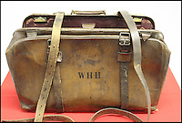 BNPS.co.uk (01202 558833)<br /> Picture: HAldridge/BNPS<br /> <br /> ****Please use full byline****<br /> <br /> The leather valise case that was recovered from the drowned body of the British musician days afterwards.<br /> <br /> The violin played by the bandmaster on the Titanic as the ship was sinking is finally being auctioned for an estimated &pound;400,000.<br /> <br /> The wooden instrument has been proven to be the one used by Wallace Hartley as his band famously played on to help keep the passengers calm during the disaster.<br /> <br /> Its existence and survival only emerged in 2006 when the son of an amateur violinist who was gifted it by her music teacher in the early 1940s contacted an auctioneers.