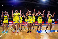 The Pulse perform a haka after the 2019 ANZ Premiership netball final match between the Central Pulse and Northern Stars at Te Rauparaha Arena in Wellington, New Zealand on Monday, 3 June 2019. Photo: Dave Lintott / lintottphoto.co.nz