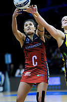 Kimiora Poi (Tactix) stretches for the ball during the ANZ Premiership netball match between the Central Pulse and Mainland Tactix at TSB Bank Arena in Wellington, New Zealand on Monday, 14 May 2018. Photo: Dave Lintott / lintottphoto.co.nz