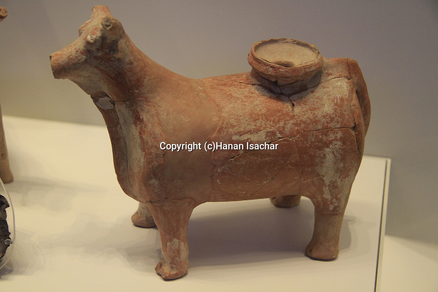 Israel, Jerusalem, bull shaped vessel for liquid offering, 18th-17th BC, from Tel Nagila, at the Israel Museum