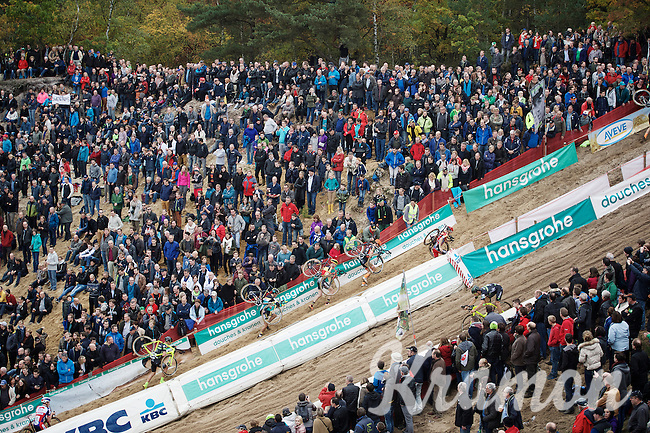 race leaders climbing out of 'The Pit' while others are still descending into it<br /> <br /> Men Elite Race<br /> Superprestige Zonhoven 2015