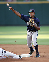 New Orleans Zephyrs 2B Abraham Nunez on Sunday June 1st at Dell Diamond in Round Rock, Texas. Photo by Andrew Woolley / Four Seam Images.