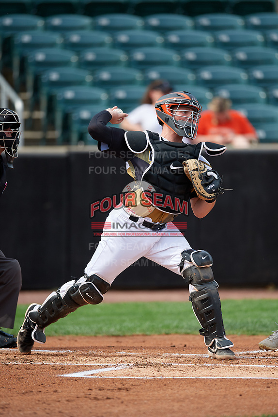 Aberdeen IronBirds catcher Adley Rutschman (35) throws a runner out on a stolen base attempt during a NY-Penn League game against the Vermont Lake Monsters on August 18, 2019 at Leidos Field at Ripken Stadium in Aberdeen, Maryland.  Vermont defeated Aberdeen 6-5.  (Mike Janes/Four Seam Images)