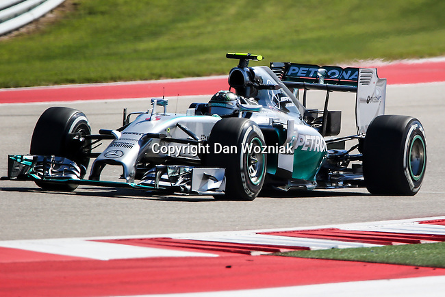 NICO ROSBERG (06) driver of the Mercedes AMG Petronas F1 team car in action during the qualifying session before the Formula 1 United States Grand Prix race at the Circuit of the Americas race track in Austin,Texas.