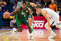 Real Madrid's player Luka Doncic and Unicaja Malaga's player Kyle Fogg during match of Liga Endesa at Barclaycard Center in Madrid. September 30, Spain. 2016. (ALTERPHOTOS/BorjaB.Hojas) /NORTEPHOTO.COM