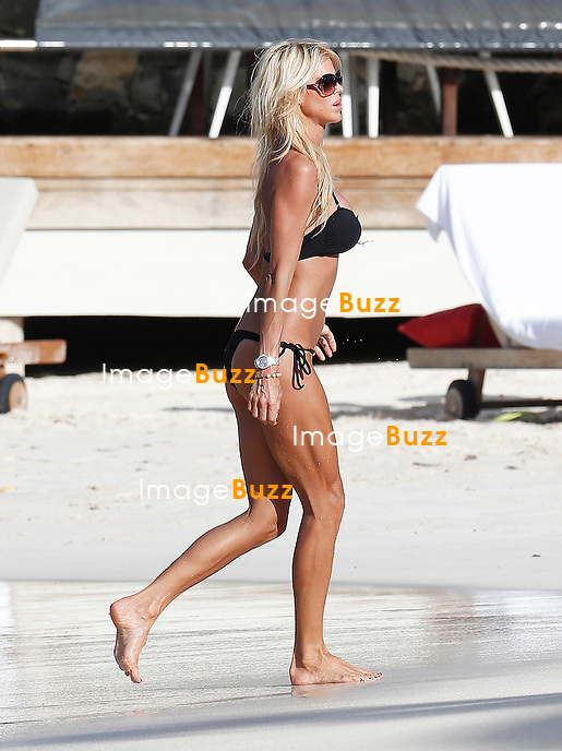 VICTORIA SILVSTEDT shows her sexy bikini body while enjoying her vacation in Saint Barths.<br /> January 10, 2014.