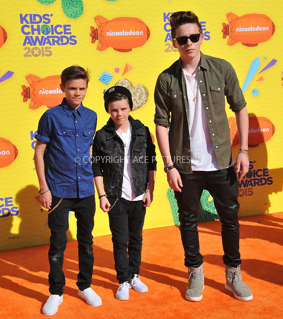 WWW.ACEPIXS.COM<br /> <br /> March 28 2015, LA<br /> <br /> Brothers (L-R) Romeo James Beckham,  Cruz David Beckham and Brooklyn Joseph Beckham arriving at Nickelodeon's 28th Annual Kids' Choice Awards at The Forum on March 28, 2015 in Inglewood, California. <br /> <br /> <br /> By Line: Peter West/ACE Pictures<br /> <br /> <br /> ACE Pictures, Inc.<br /> tel: 646 769 0430<br /> Email: info@acepixs.com<br /> www.acepixs.com