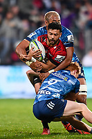 11th July 2020, Christchurch, New Zealand;  Richie Mo'unga of the Crusaders is tackled by Patrick Tuipulotu of the Blues and Finlay Christie of the Blues during the Super Rugby Aotearoa, Crusaders versus Blues, at Orangetheory Stadium, Christchurch