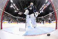 Milwaukee Admirals goaltender Magnus Hellberg recovers after allowing a goal in the second period of an AHL hockey game against the San Antonio Rampage, Thursday, Jan. 16, 2014, in San Antonio. (Darren Abate/AHL)