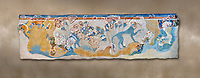 Minoan wall art depicting 'Blue Monkeys' from Knossos Palace, 1700-1450 BC. Heraklion Archaeological Museum.
