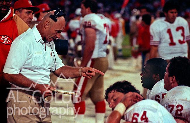 San Francisco 49ers vs. Denver Broncos at Candlestick Park Wednesday, August 7, 1991.  49ers beat Broncos 24-6 in preseason game.  49er defensive line coach Bobb McKittrick.