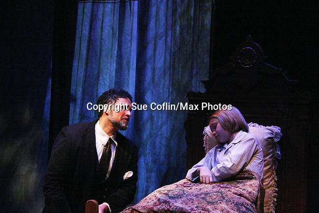 """Chris Whipple and Charlie Plummer """"Archibald and Colin Craven"""" father and son as Philipstown Depot Theatre presents The Secret Garden on November 15, 2009 in Garrison, New York. The musical The Secret Garden is the story of """"Mary Lennox"""", a rich spoiled child who finds herself suddenly an orphan when cholera wipes out the entire Indian village where she was living with her parents. She is sent to live in England with her only surviving relative, an uncle who has lived an unhappy life since the death of his wife 10 years ago. """"Archibald's son Colin"""", has been ignored by his father who sees Colin only as the cause of his wife's death.This is essentially the story of three lost, unhappy souls who, together, learn how to live again while bringing Colin's mother's garden back to life. (Photo by Sue Coflin/Max Photos)...."""