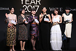 "November 24, 2017, Tokyo, Japan - (L-R) Japanese artist Kom I, Naoki award author Riku Onda, comedian Buruzon Chiemi, actress Tae Kimura, actress Riho Yoshioka and choreographer Mikiko pose for photo as they receive ""Vogue Japan Women of the Year 2017"" award in Tokyo on Friday, November 24, 2017.      (Photo by Yoshio Tsunoda/AFLO) LWX -ytd-"