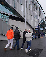 26th December 2019; Tottenham Hotspur Stadium, London, England; English Premier League Football, Tottenham Hotspur versus Brighton and Hove Albion; Spurs fans arriving at the ground  - Strictly Editorial Use Only. No use with unauthorized audio, video, data, fixture lists, club/league logos or 'live' services. Online in-match use limited to 120 images, no video emulation. No use in betting, games or single club/league/player publications