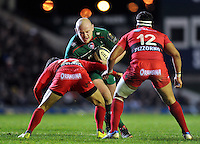 Dan Cole of Leicester Tigers takes on the Toulon defence. European Rugby Champions Cup match, between Leicester Tigers and Toulon on December 7, 2014 at Welford Road in Leicester, England. Photo by: Patrick Khachfe / JMP