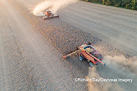 63801-13504 Combines harvesting soybeans in fall-aerial  Marion Co. IL