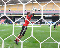 Troy Perkins #23 of D.C. United during an MLS match against the New England Revolution on April 3 2010, at RFK Stadium in Washington D.C.