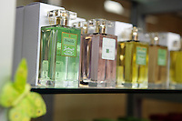 Perfume for sale in the boutique of the Galimard perfume factory and visitor centre, Grasse, France, 3 May 2013