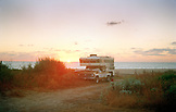 MEXICO, Baja, surfers camping, od truck and surfboards, El Pescador