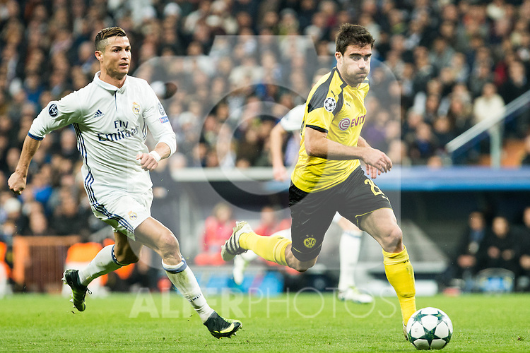 Real Madrid's Cristiano Ronaldo, Borussia Dortmund Erik Durm during Champions League match between Real Madrid and Borussia Dortmund  at Santiago Bernabeu Stadium in Madrid , Spain. December 07, 2016. (ALTERPHOTOS/Rodrigo Jimenez)