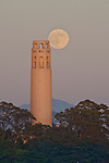 The Coit Tower on Telegraph Hill, San Francisco, at Sunset for the rising of the Full Moon