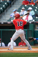 Louisville Bats second baseman Tony Renda (18) at bat during a game against the Buffalo Bisons on June 23, 2016 at Coca-Cola Field in Buffalo, New York.  Buffalo defeated Louisville 9-6.  (Mike Janes/Four Seam Images)