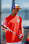 21 February 2019: Washington Nationals outfielder Michael Taylor awaits his turn in the batting cage during a Spring Training workout at the Ballpark of the Palm Beaches in West Palm Beach, Florida. Mandatory Credit: Ed Wolfstein Photo *** RAW (NEF) Image File Available ***