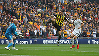 Watford's Andre Gray with a first half attempt at goal<br /> <br /> Photographer Rob Newell/CameraSport<br /> <br /> Emirates FA Cup Semi-Final  - Watford v Wolverhampton Wanderers - Sunday 7th April 2019 - Wembley Stadium - London<br />  <br /> World Copyright © 2019 CameraSport. All rights reserved. 43 Linden Ave. Countesthorpe. Leicester. England. LE8 5PG - Tel: +44 (0) 116 277 4147 - admin@camerasport.com - www.camerasport.com