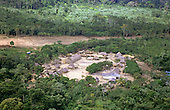 Koatimemo Village, Brazil. Aerial view of the village with the House of the Dead, water cisterns and health post. Assurini