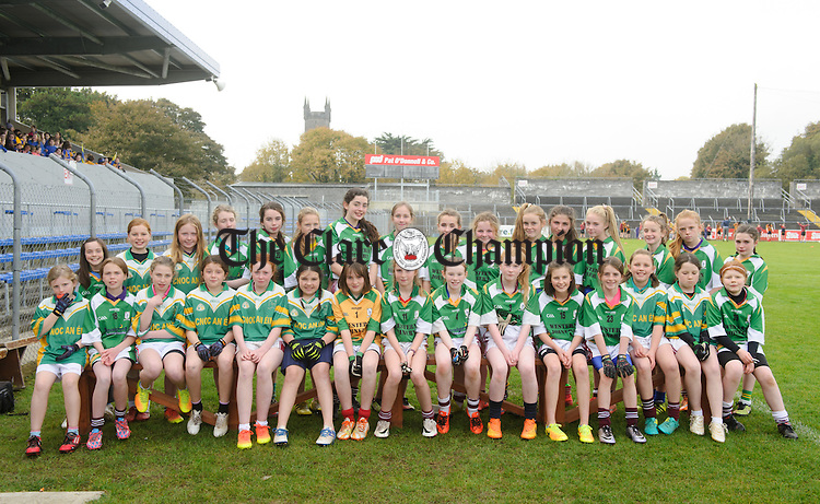 Knockanean NS Girls at the Cumann na mBunscoil Finals at Cusack Park. Photograph by John Kelly.