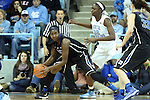 03 February 2013: Duke's Elizabeth Williams (left) and North Carolina's Waltiea Rolle (32). The University of North Carolina Tar Heels played the Duke University Blue Devils at Carmichael Arena in Chapel Hill, North Carolina in an NCAA Division I Women's Basketball game. Duke won the game 84-63.