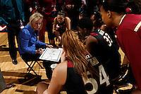 Florida State Seminoles head coach Sue Semrau talks with the team during the game against Virginia Jan. 12, 2012 in Charlottesville, Va.  Virginia defeated Florida State 62-52.