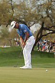 January 31st 2019, Scotsdale, Arizona, USA; Gary Woodland putts on the 9th green during the first round of the Waste Management Phoenix Open