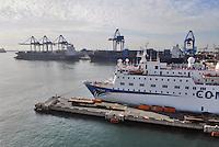 - big ferries moored in Genoa Harbor....- grandi traghetti ormeggiati nel porto di Genova