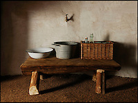 BNPS.co.uk (01202 558833)<br /> Pic: UpcottRoundhouse/BNPS<br /> <br /> Yabba-dabba-doo...<br /> <br /> Luxury...Iron age style.<br /> <br /> A farmer has painstakingly recreated an Iron Age roundhouse to enable holidaymakers to release their inner Flintstone in the heart of the Devon countryside.<br /> <br /> Charles Cole has gone back over 2000 years to offer a back to basic's experience including a stone hearth fire, rudimentary plumbing, composting toilet and a six ton thatched roof to keep out the wind and rain.<br /> <br /> The amazing structure has been completely hand built by Charles and his family from materials sourced from their own farm and they have just opened up for bookings at &pound;170 a night..animal skins are optional.