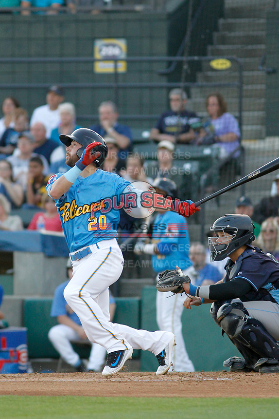 Myrtle Beach Pelicans infielder Trent Giambrone (20) at bat during a game against the Wilmington Blue Rocks at Ticketreturn Field at Pelicans Ballpark on April 26, 2017 in Myrtle Beach, South Carolina. Myrtle Beach defeated Wilmington 7-3. (Robert Gurganus/Four Seam Images)