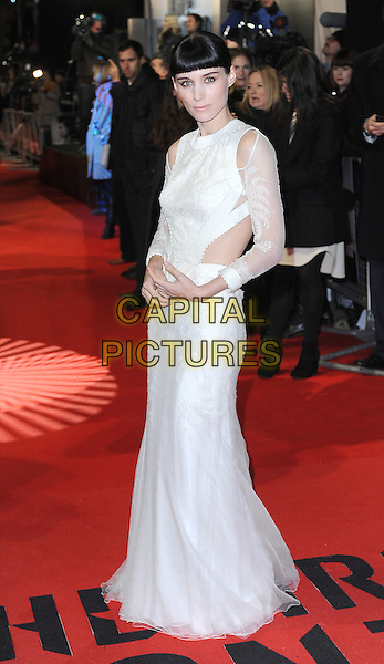 Rooney Mara.'The Girl With The Dragon Tattoo' World film Premiere, Odeon Leicester Square, London, England..12th December 2011.full length white dress sheer sleeves cut out away side fringe bangs hair .CAP/BEL.©Tom Belcher/Capital Pictures.