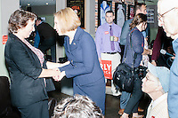 Republican presidential candidate and former HP CEO Carly Fiorina greets supporters in the basement of the Barley House in Concord, New Hampshire.