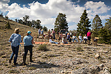 USA, Nevada, Wells, guests take a break and relax during a horse-back excursion at Mustang Monument, A sustainable luxury eco friendly resort and preserve for wild horses, Saving America's Mustangs Foundation