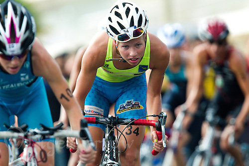 17 SEP 2011 - LA BAULE, FRA - Zsofia Toth (Triathlon Olympique Club Cesson Sevigne) begins another bike lap during the final round of the women's French Grand Prix Series at the Triathlon Audencia in La Baule, France (PHOTO (C) NIGEL FARROW)