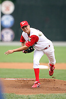 July 4th 2008:  Starting Pitcher Spencer Arroyo (23) of the Williamsport Crosscutters, Class-A affiliate of the Philadelphia Phillies, during a game at Bowman Field in Williamsport, PA.  Photo by:  Mike Janes/Four Seam Images