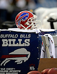 28 August 2008:  A Buffalo Bills helmet lies on an equipment case on the sidelines during a game against the Detroit Lions at Ralph Wilson Stadium in Orchard Park, NY. The Lions defeated the Bills 14-6 in their fourth and final pre-season game...Mandatory Photo Credit: Ed Wolfstein Photo