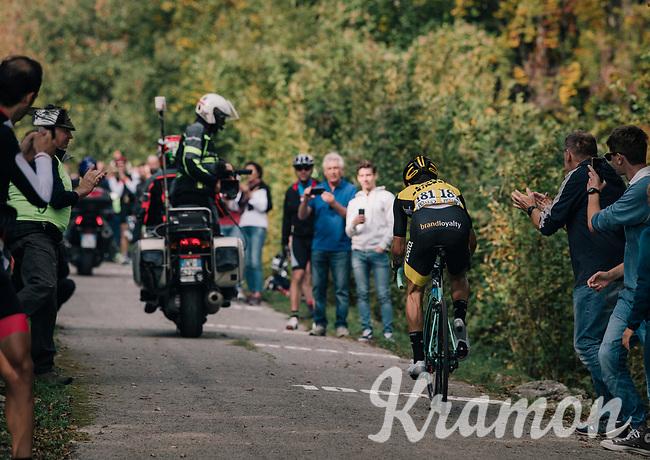 race leader Primoz Roglic (SVK/LottoNL-Jumbo) up the infamous/brutal Muro di Sormano (avg 17%/max 25%)<br /> <br /> 112th Il Lombardia 2018 (ITA)<br /> from Bergamo to Como: 241km