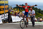 Dylan Teuns (BEL) Bahrain-Merida crosses the finish line atop La Planche des Belles Filles to win Stage 6 of the 2019 Tour de France running 160.5km from Mulhouse to La Planche des Belles Filles, France. 11th July 2019.<br /> Picture: Serge Waldbillig | Cyclefile<br /> All photos usage must carry mandatory copyright credit (© Cyclefile | Serge Waldbillig)