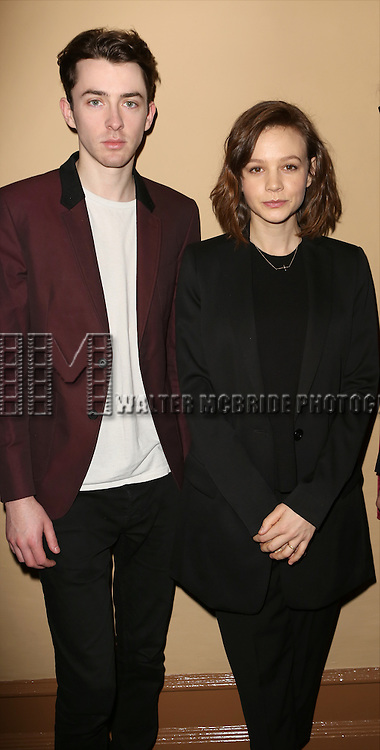 Matthew Beard and Carey Mulligan attends the 'photo call for the Broadway production of Skylark' at the Golden Theatre on March 10, 2015 in New York City.