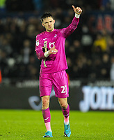 2nd January 2020; Liberty Stadium, Swansea, Glamorgan, Wales; English Football League Championship, Swansea City versus Charlton Athletic; Freddie Woodman of Swansea City gives the fans the thumbs up at the end of the match in which his side won 1-0 - Strictly Editorial Use Only. No use with unauthorized audio, video, data, fixture lists, club/league logos or 'live' services. Online in-match use limited to 120 images, no video emulation. No use in betting, games or single club/league/player publications