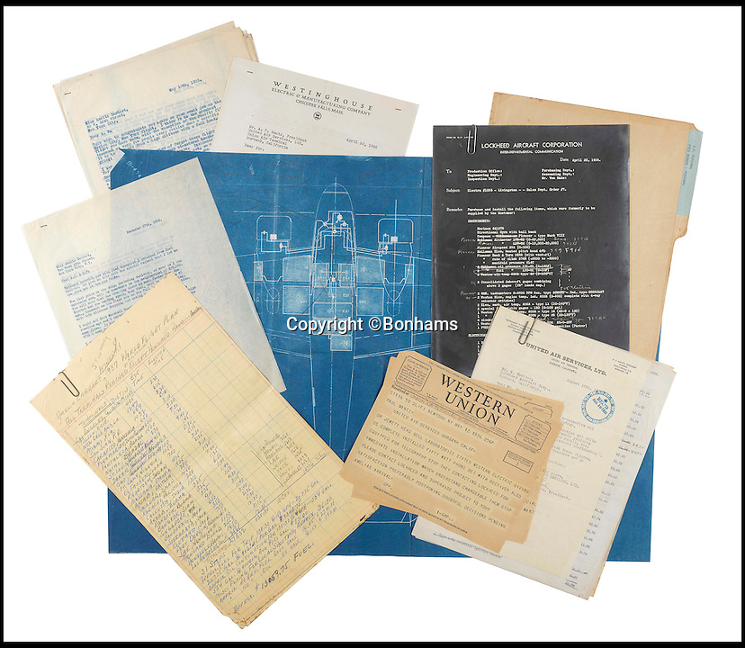 BNPS.co.uk (01202 558833)<br /> Pic: Bonhams/BNPS<br /> <br /> The blueprints of the cutting edge aeroplane that tragic aviation pioneer Amelia Earhart disappeared in during an attempt to fly around the world almost 80 years ago have emerged for sale for &pound;14,000.<br /> <br /> Earhart's Lockheed Electra 10e aircraft was packed so full of new technology that it was dubbed the 'flying laboratory' on its launch in 1936.<br /> <br /> Plans and invoices for the work Lockheed carried out to modify the plane for the round the world flight show Earhart had four auxiliary fuel tanks fitted in the passenger compartment and a navigator's station to the rear of that.<br /> <br /> The auction will take place at Bonhams in New York on June 8.